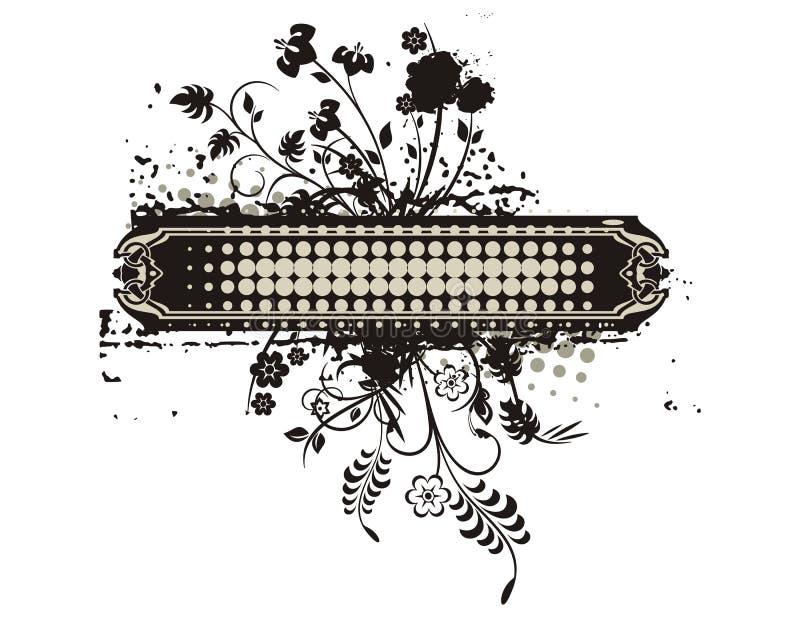 De bloemen Reeks van het Frame Grunge royalty-vrije illustratie