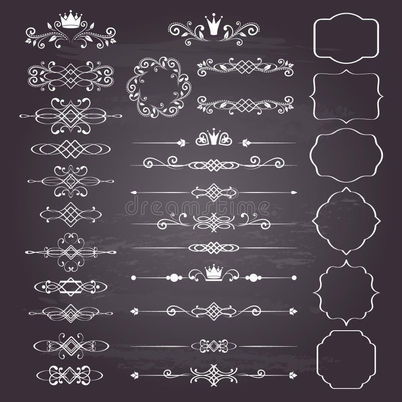 De bloemen reusachtige reeks van ontwerpelementen, sier uitstekende kaders met kronen in wit vector illustratie