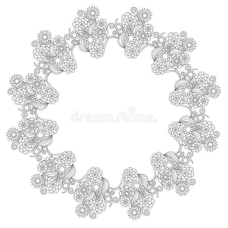 De bloemen ronde zwart-wit achtergrond van de lijnstijl, Lorem ipsum vectorillustratie vector illustratie