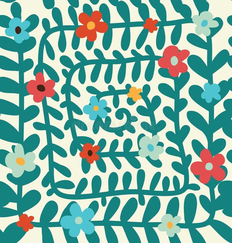 De bloemen spiraalvormige achtergrond van de patroon Naadloze zomer met bloemen stock illustratie