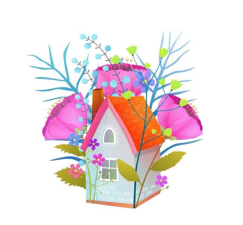 De bloemen uiterst kleine vlakke vectorillustratie van het plattelandshuisjehuis vector illustratie