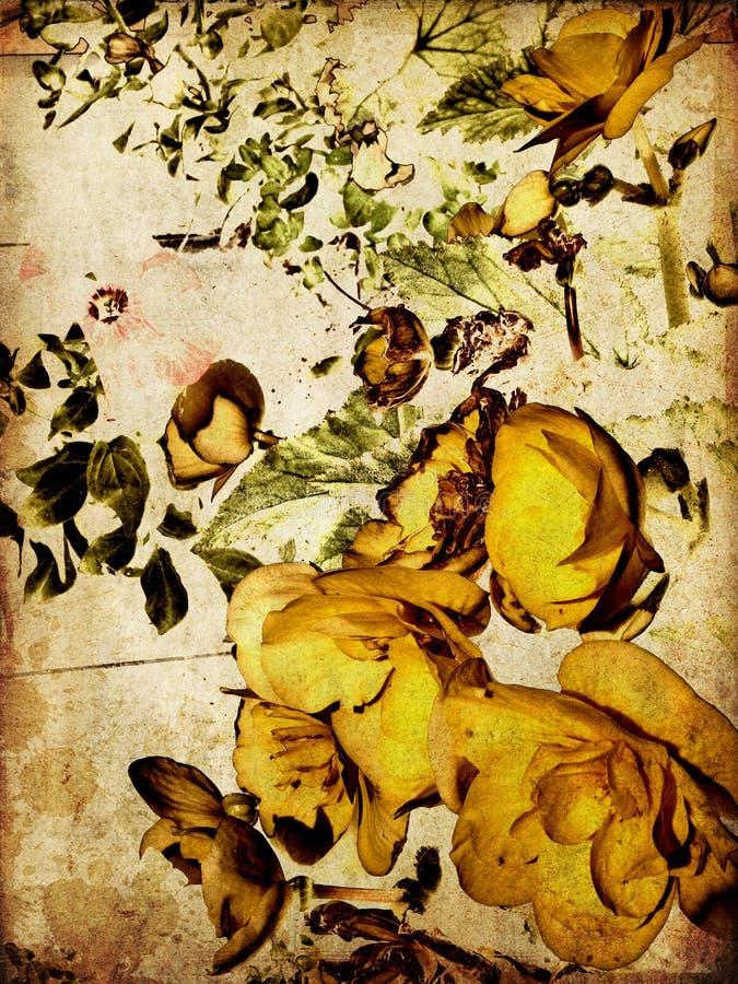 De bloemen uitstekende kleurrijke achtergrond van de kunst royalty-vrije illustratie