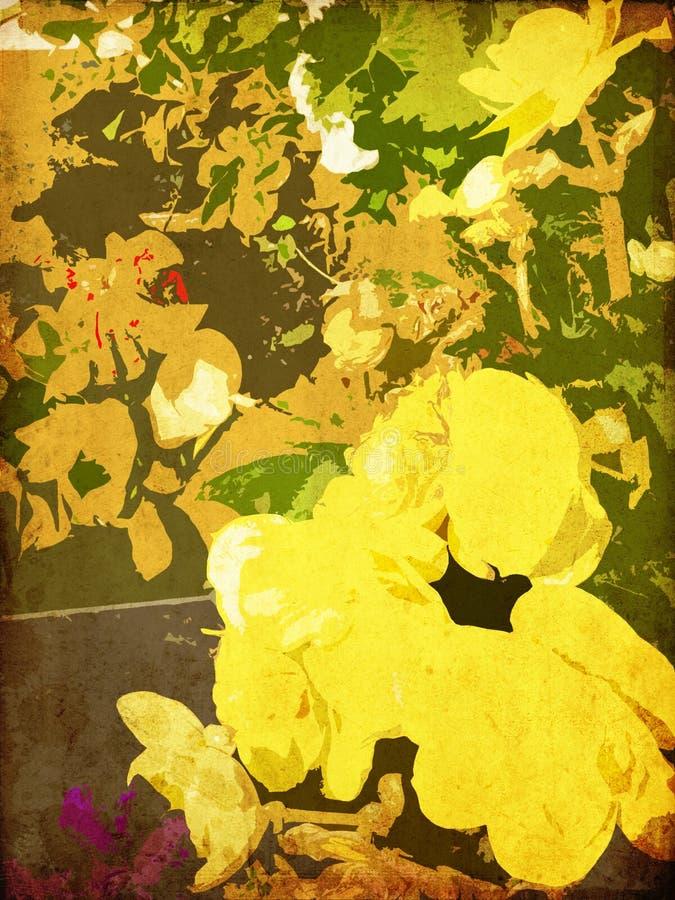 De bloemen uitstekende kleurrijke achtergrond van de kunst vector illustratie