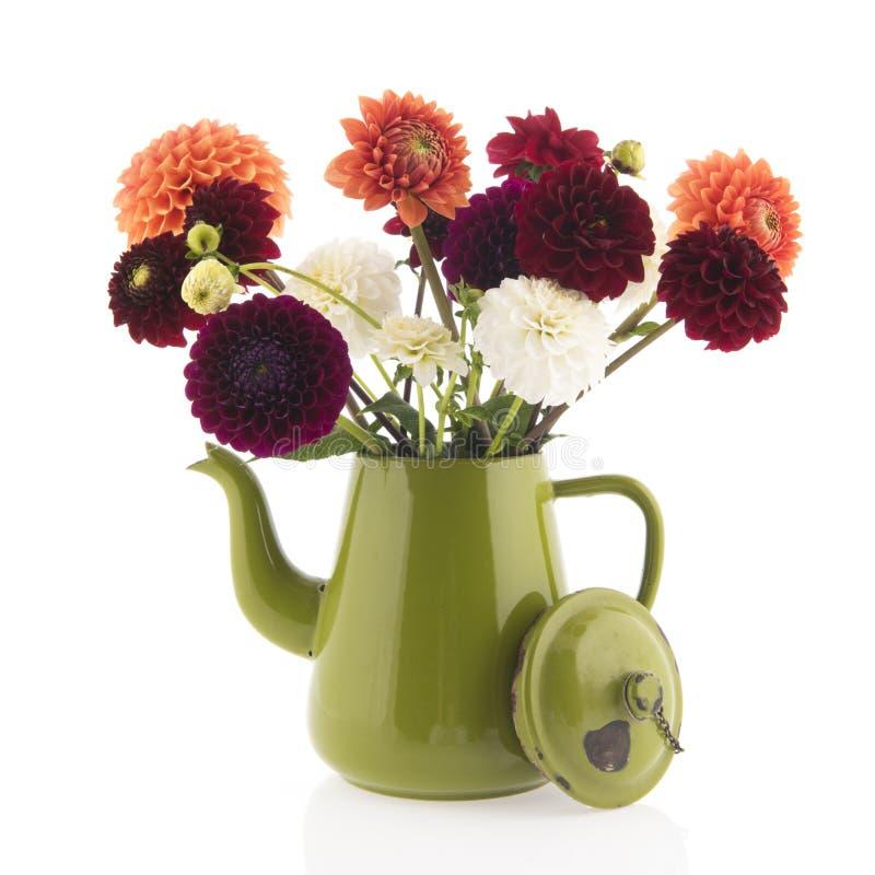 De bloemen van de boeketdahlia stock afbeeldingen