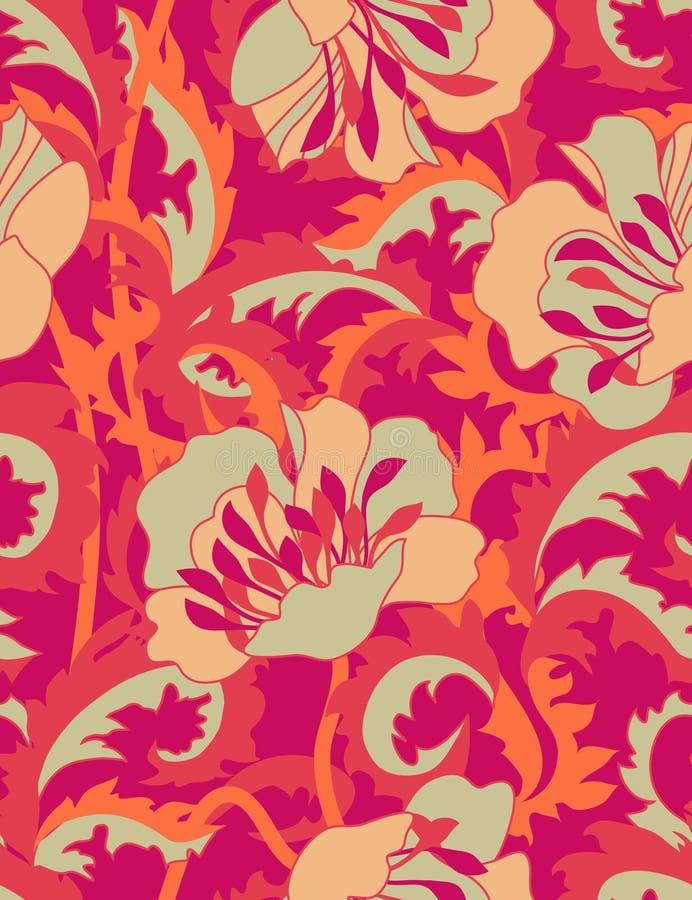 De bloemen van de brand - naadloos patroon royalty-vrije illustratie