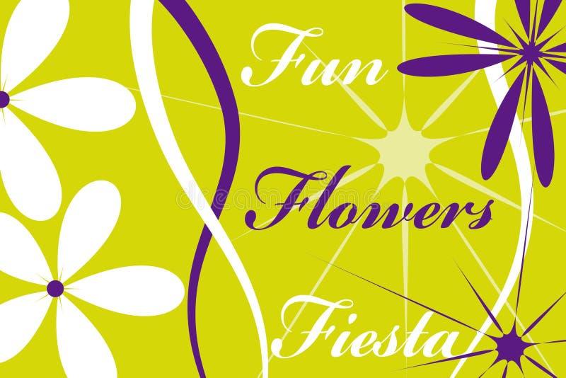 De bloemen van de de pretfiesta van de prentbriefkaar royalty-vrije illustratie