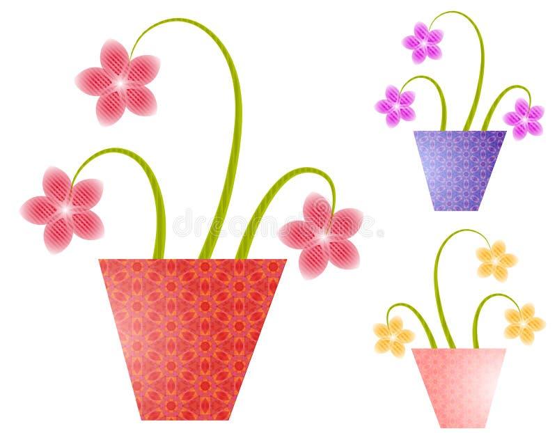 De Bloemen van de lente in de Potten van de Bloem   stock illustratie