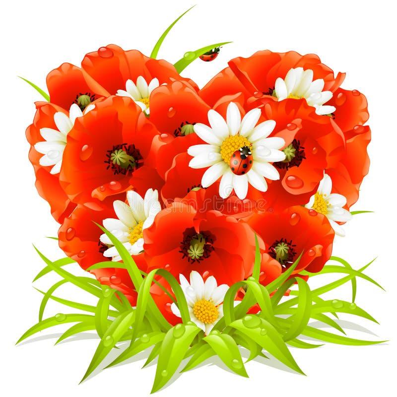 De bloemen van de lente in de vorm van Hart vector illustratie