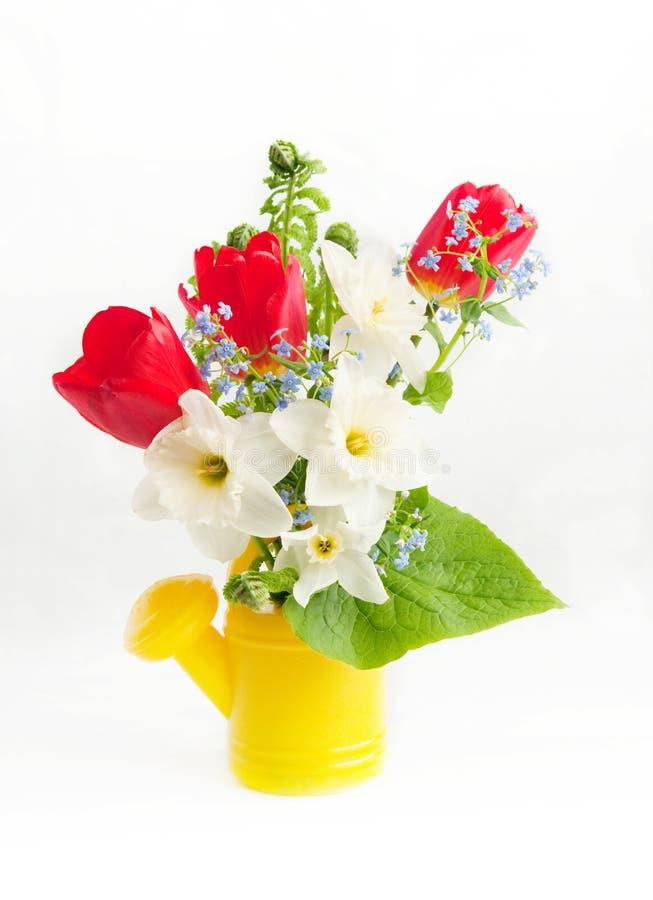 De bloemen van de lente in een gieter van kinderen royalty-vrije stock foto's