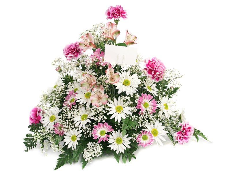 De Bloemen van de lente met Kaart royalty-vrije stock afbeeldingen