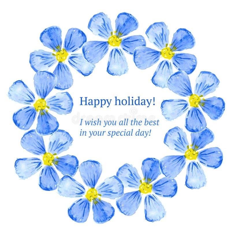 De bloemen van de schetswaterverf in uitstekende stijl royalty-vrije illustratie