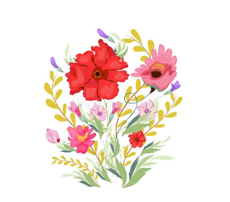 De Bloemen van de verfwaterverf royalty-vrije illustratie