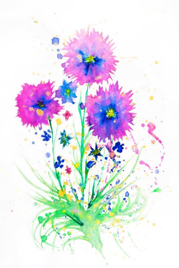 De bloemen van de waterverf stock foto