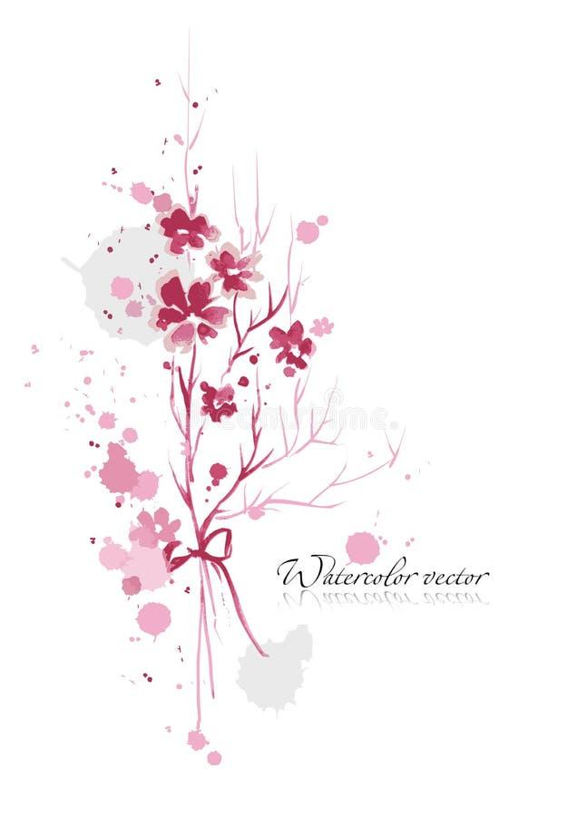 De bloemen van de waterverf stock foto's