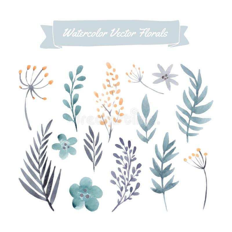 De bloemen van de waterverf stock illustratie