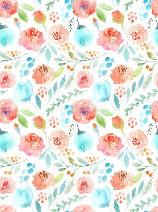De bloemen van de waterverf Naadloos patroon Leuke rozen royalty-vrije illustratie