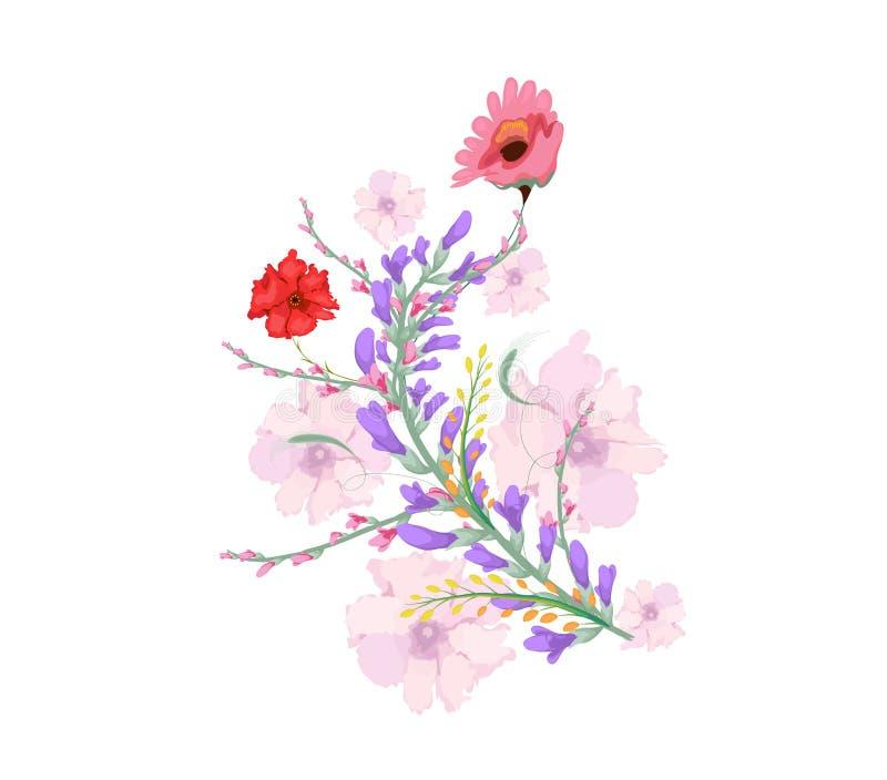 De bloemen van de waterverfillustratie op eenvoudige achtergrond vector illustratie