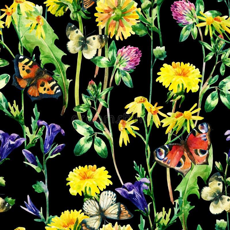 De bloemen van de weidewaterverf en vlinder naadloos patroon vector illustratie