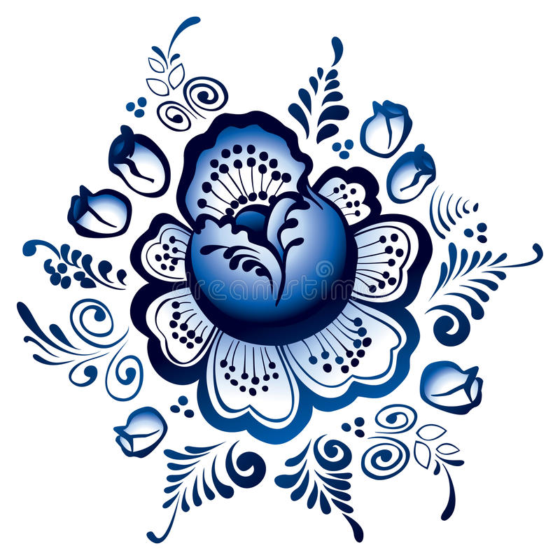 De bloemen van Gzhel. Russisch ornament