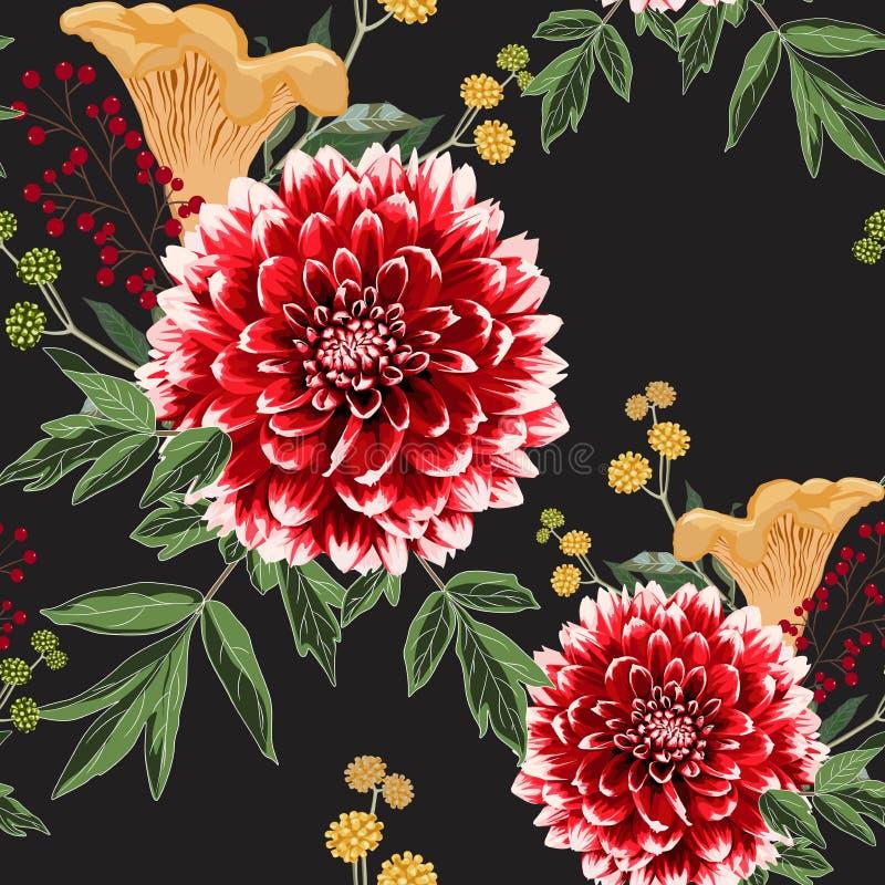 De bloemen van de de herfstdahlia, kruiden en geel paddestoelen naadloos patroon royalty-vrije illustratie