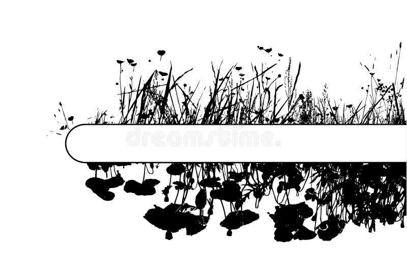 De bloemen van het gras en van de papaver met plaats voor uw tekst. royalty-vrije illustratie