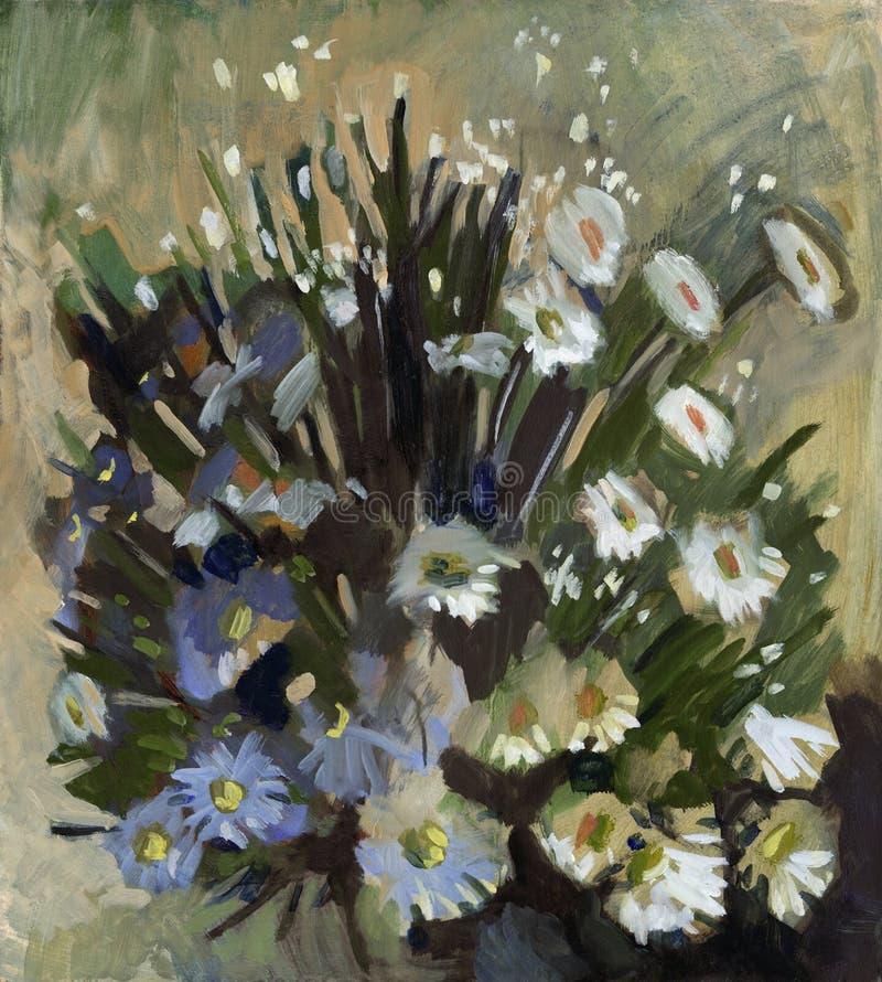 De bloemen van het olieverfschilderij vector illustratie