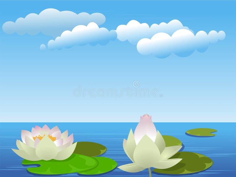 De bloemen van Lotus op het meer royalty-vrije illustratie