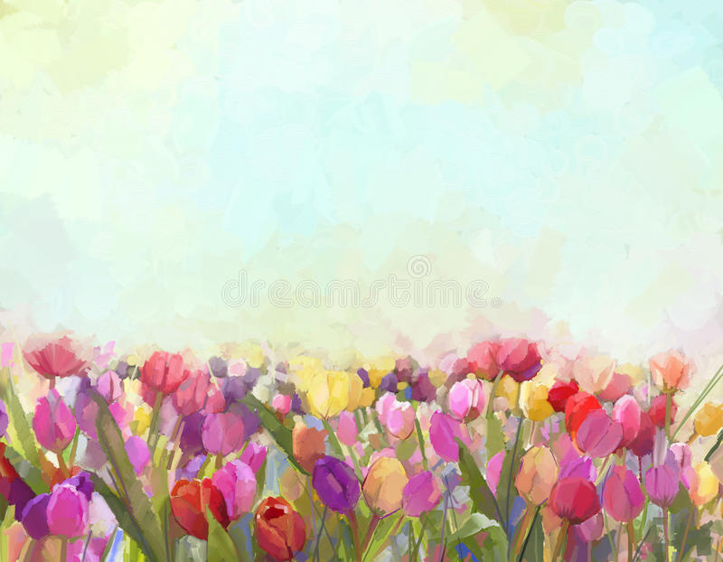 De bloemen van olieverfschilderijtulpen in de weiden royalty-vrije illustratie