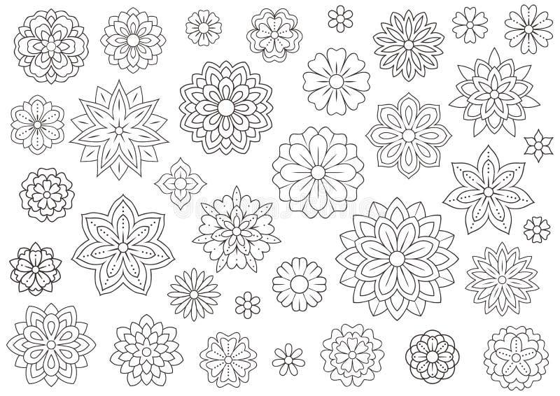 De bloemen van de overzichtskrabbel voor volwassen kleurend boek Mooie bloemenachtergrond voor kleurenkunstwerk Zwart-wit zentang stock illustratie