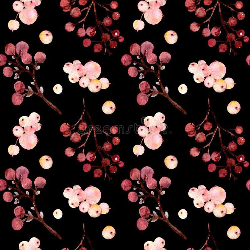 De bloemen van de patroonwaterverf, takken, snowberries stock illustratie