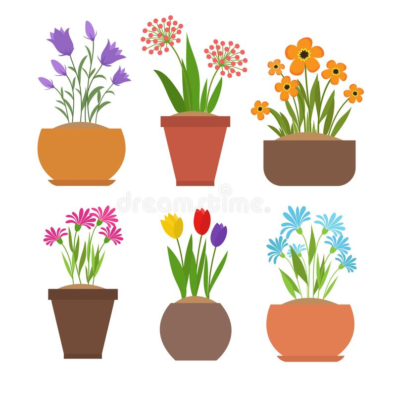De bloemen van de tuinlente in de vectorreeks van bloempotten royalty-vrije illustratie