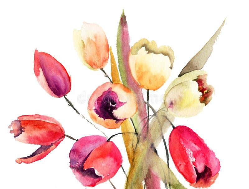 De bloemen van tulpen, het schilderen van de Waterverf stock illustratie