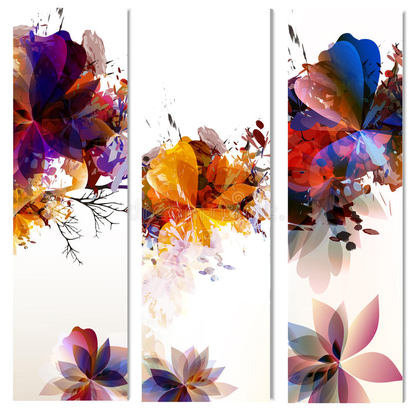 De bloemen verticale brochures worden geplaatst die met doorbladert geschilderd in waterverf s vector illustratie