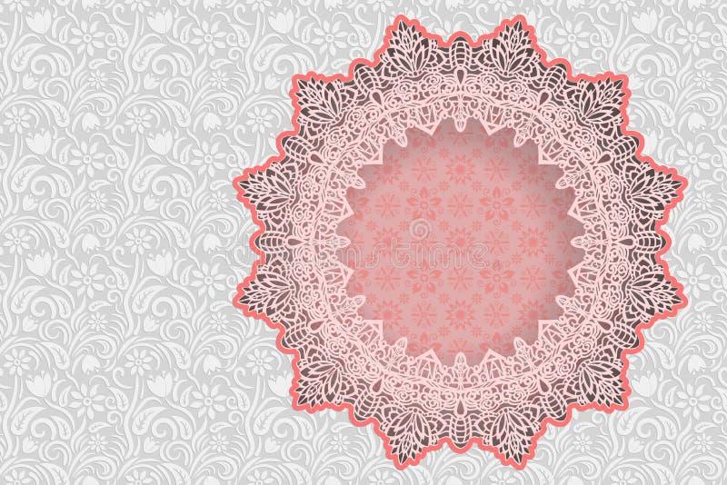 De bloemen witte achtergrond en het kader in de vorm van een ster met een kantgrens op de rand voor groetkaart, kunnen als t word royalty-vrije illustratie