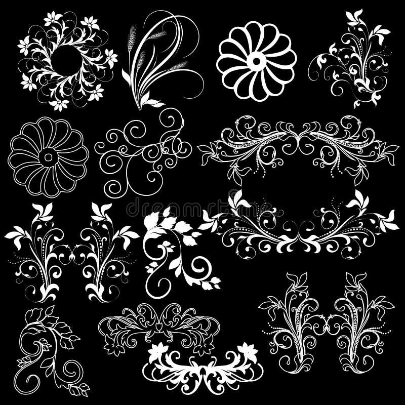 De bloemen zwarte achtergrond van ontwerpelementen royalty-vrije illustratie