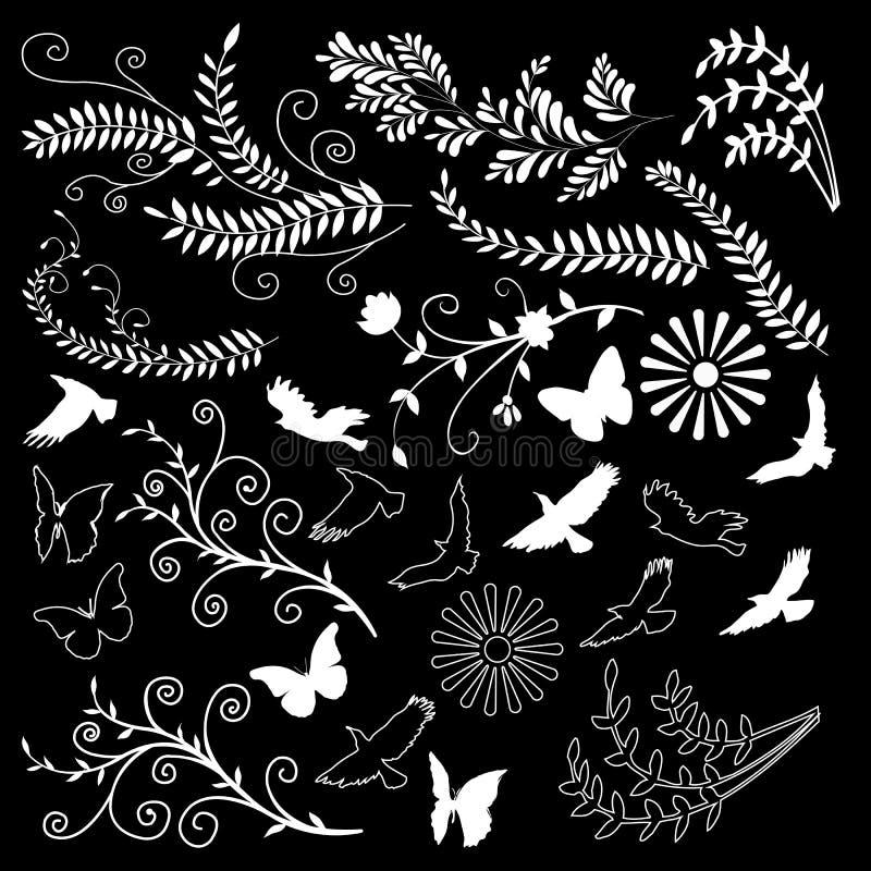 De bloemen zwarte achtergrond van ontwerpelementen vector illustratie