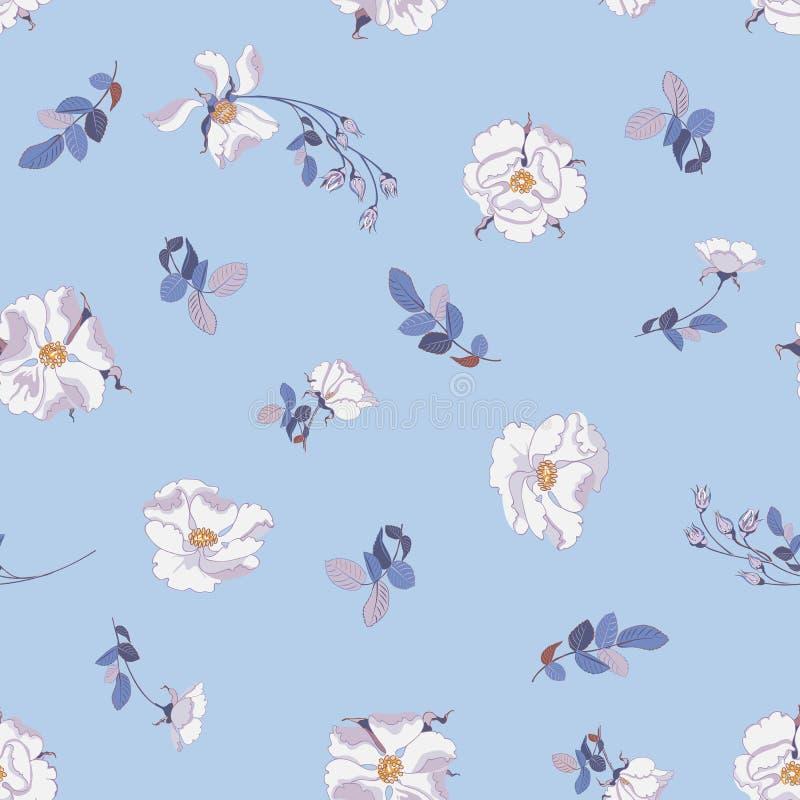 De bloemenachtergrond met kleine bloemen witte wild nam en bladeren toe royalty-vrije illustratie