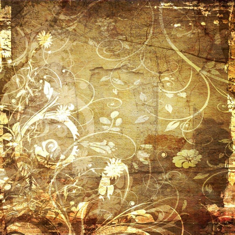 De bloemenachtergrond van de kunst grunge stock illustratie