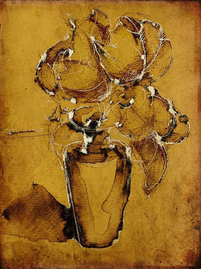 De bloemenachtergrond van de kunst grunge vector illustratie