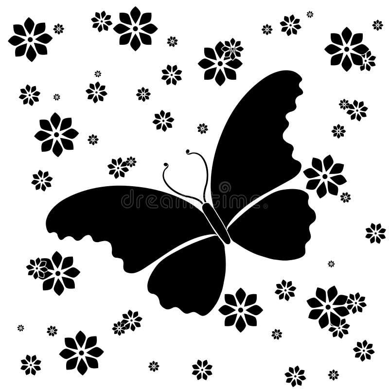 De BloemenAchtergrond van de vlinder stock illustratie