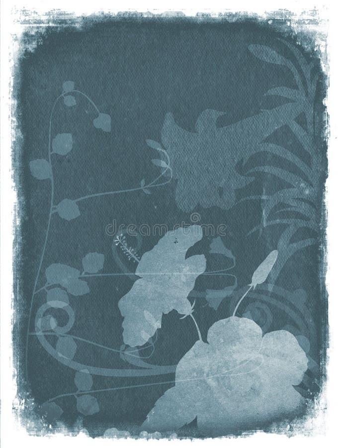 De bloemenachtergrond van Grunge - Blauw vector illustratie