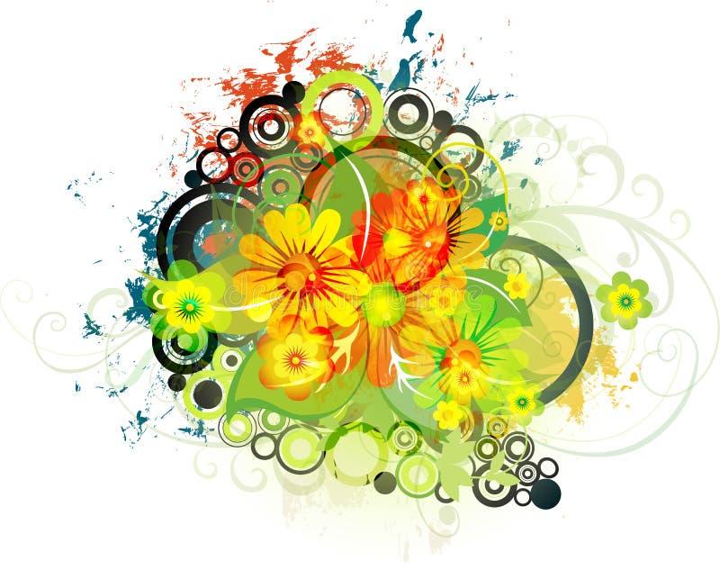 De bloemenAchtergrond van Grunge. Eps10 royalty-vrije illustratie