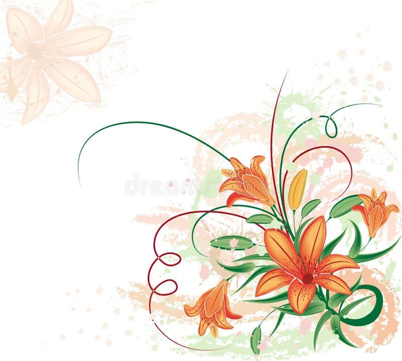 De bloemenachtergrond van Grunge met lilium, vector stock illustratie