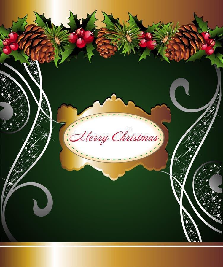 De bloemenachtergrond van Kerstmis met pinecone vector illustratie