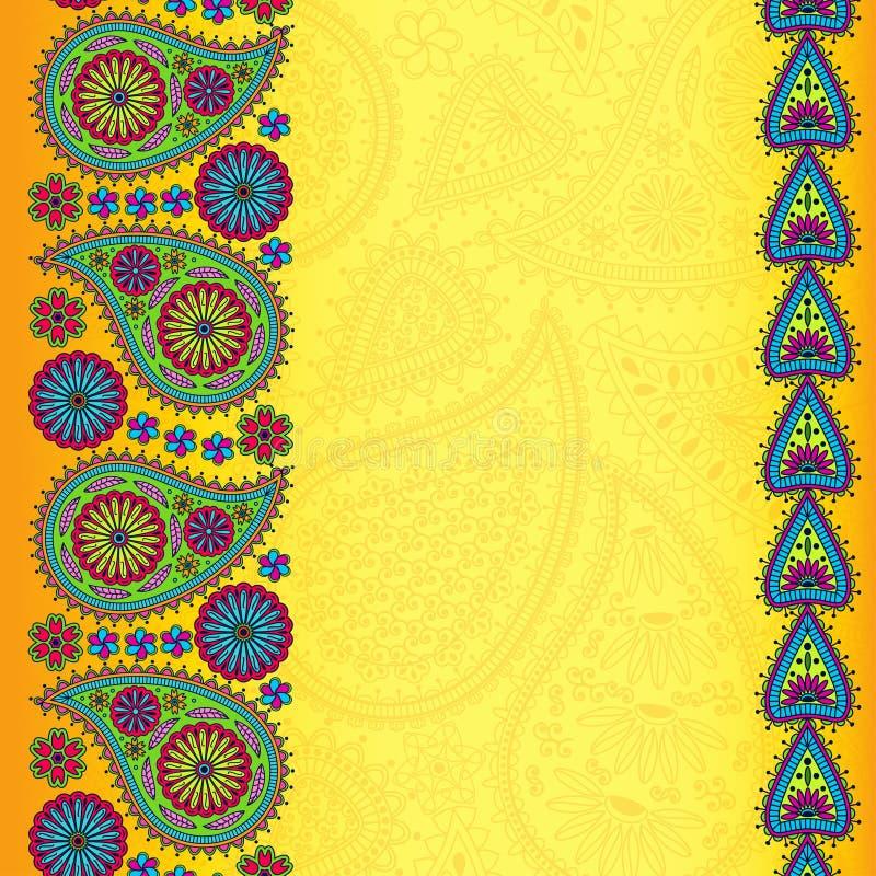 De bloemenachtergrond van Paisley met plaats voor uw tekst Heldere siergrenzen op gele achtergrond Goed voor uitnodigingskaarten, vector illustratie