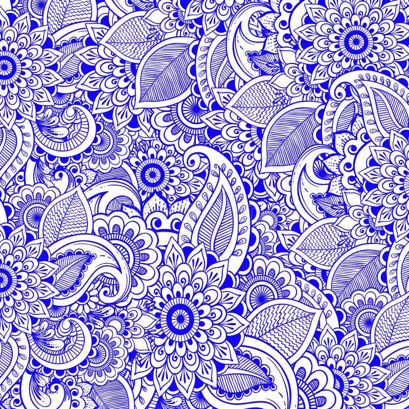 De bloemenachtergrond van de Zentanglemeditatie Vector art Aziatische oosterse motieven Textiel, druk royalty-vrije illustratie