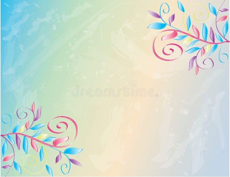 De Bloemenaffiche van de waterverflente, Behang, Achtergrond royalty-vrije illustratie