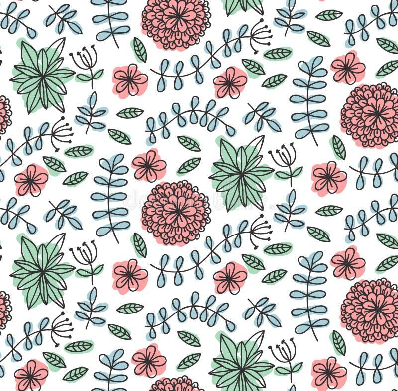 De bloemenbloemen doorbladert krabbel naadloos vectorpatroon stock illustratie