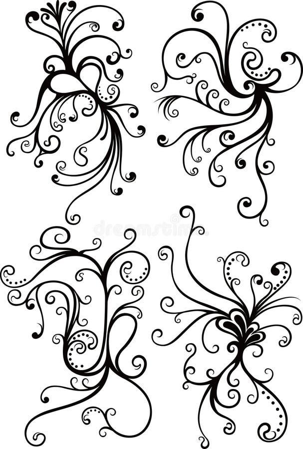 De BloemenElementen van de werveling stock illustratie