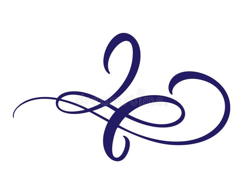 De bloemenelementen van het lijnen filigraanontwerp Vector uitstekende lijn elegante verdelers en separators, wervelingen en hoek royalty-vrije illustratie
